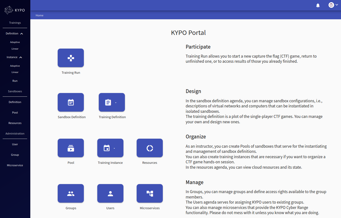 KYPO-home-page-admin