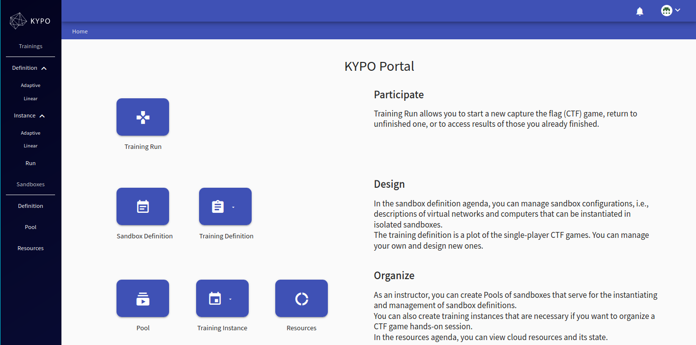 KYPO-home-page-trainee